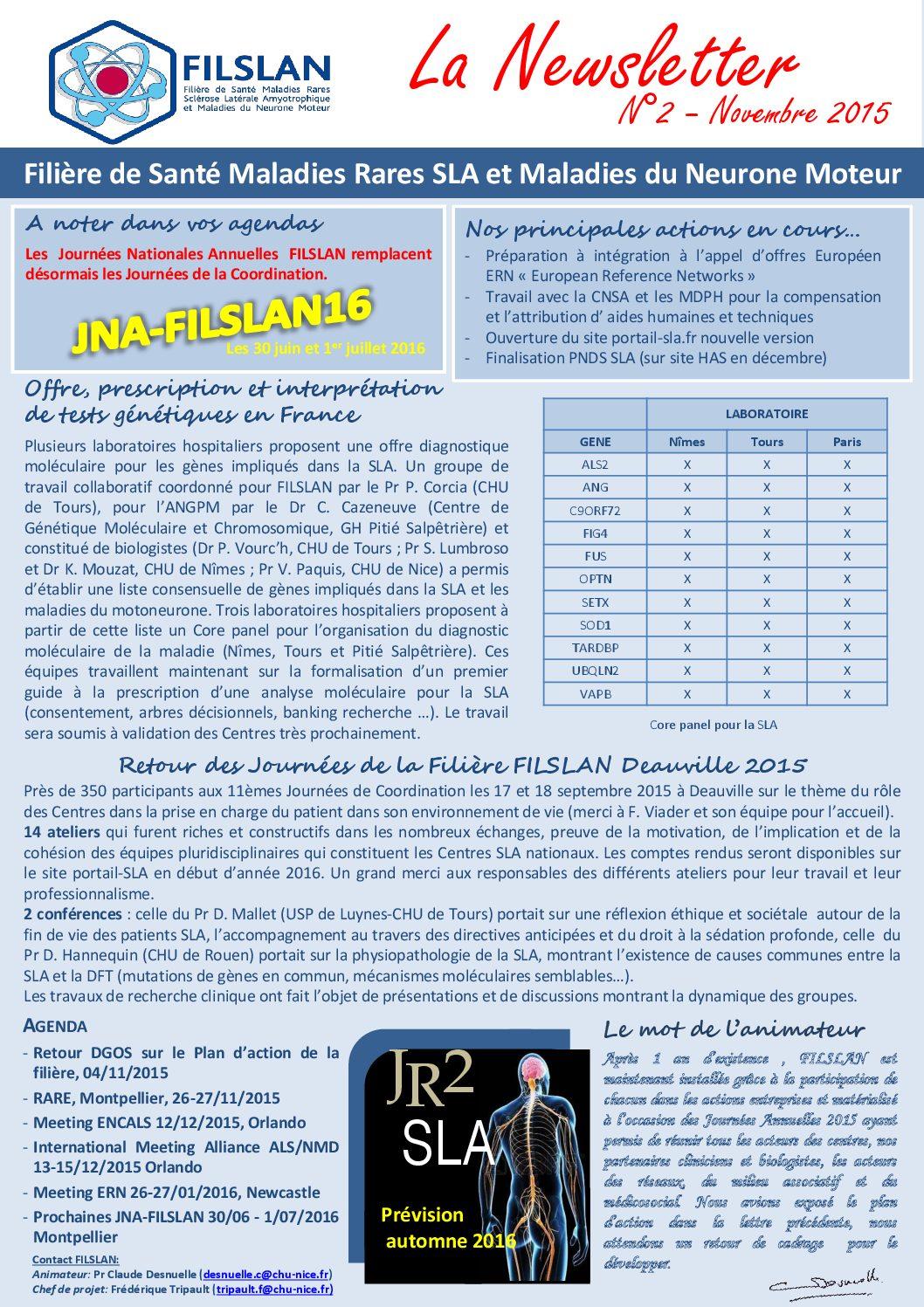 Newsletter N°2 - Novembre 2015