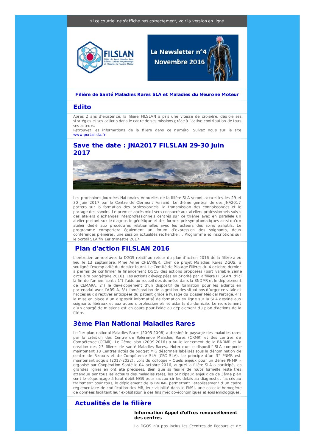 Newsletter N°4 - Novembre 2016
