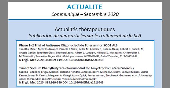 Actualités thérapeutiques – septembre 2020