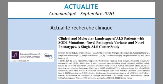 Actualité recherche clinique – septembre 2020